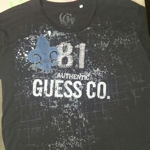 Distressed Black Guess T Shirt Size XXL